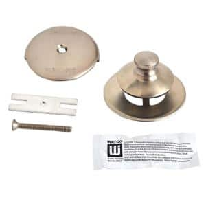 Universal NuFit Push Pull Bathtub Stopper, 1-Hole Overflow, Silicone Kit and Non-Grid Strainer, Brushed Nickel