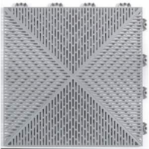 Unique 14.9 in. x 14.9 in. Gray Polypropylene Garage Floor Tile (54 sq. ft. / case)