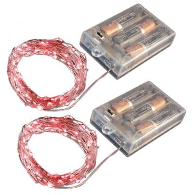 Battery Operated LED Waterproof Mini String Lights with Timer (50ct) Red (Set of 2)