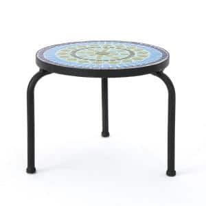 Iris Black Stone Outdoor Side Table