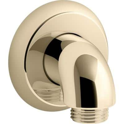 Forte 1/2 in. 90-Degree Hub Brass Wall-Mount Supply Elbow with Check Valve in Vibrant French Gold