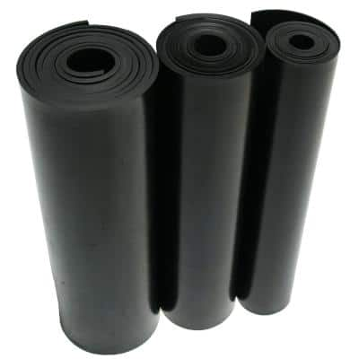 Nitrile 1/8 in. x 36 in. x 12 in. Commercial Grade 60A Rubber Sheet Black Buna Sheets