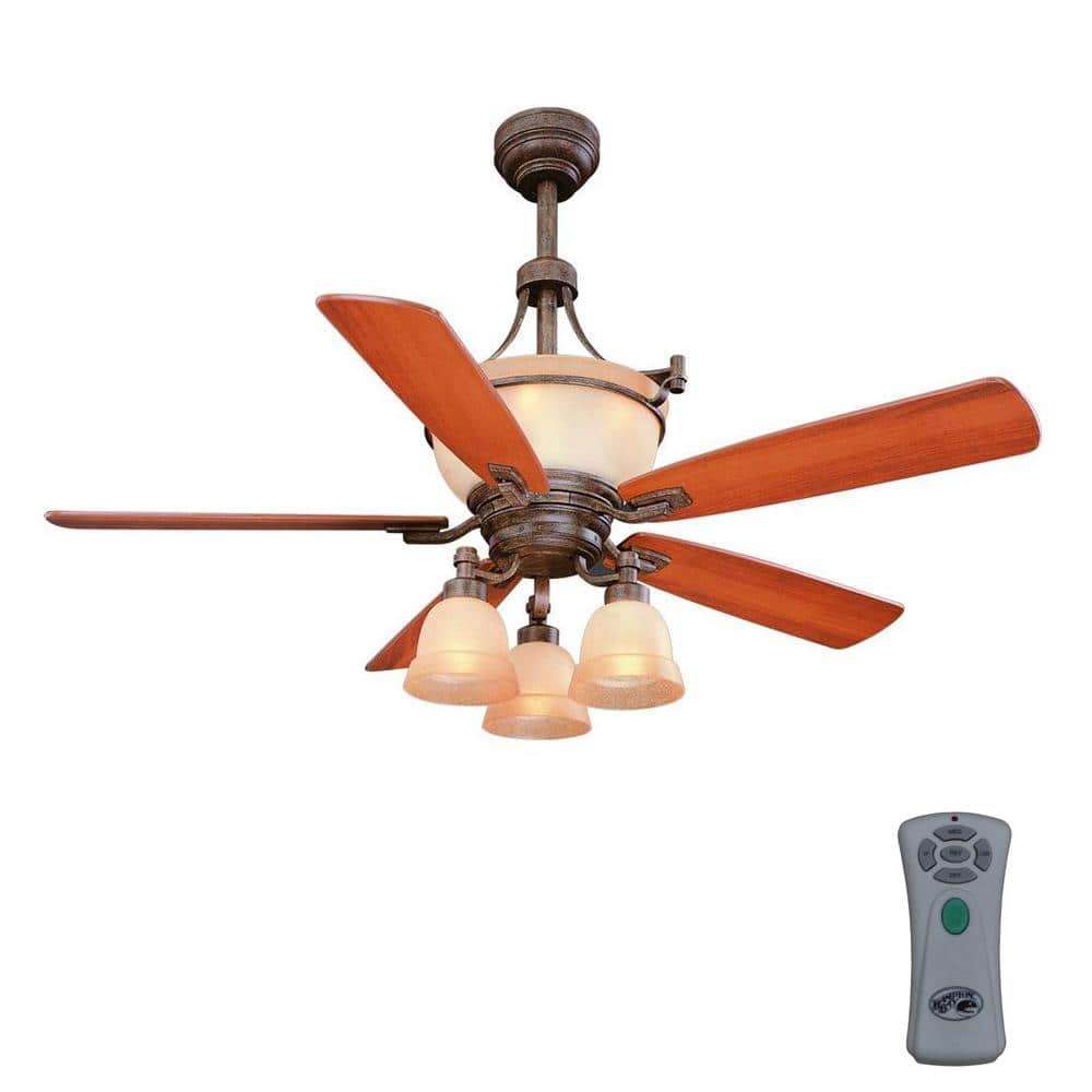 Hampton Bay Rock Creek 52 In Indoor Iron Oxide Ceiling Fan With Light Kit And Remote Control 34005 The Home Depot