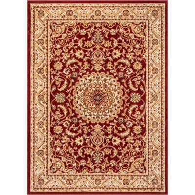 Dulcet Mykonos Red 7 ft. 10 in. x 9 ft. 10 in. Traditional Oriental and Persian Area Rug