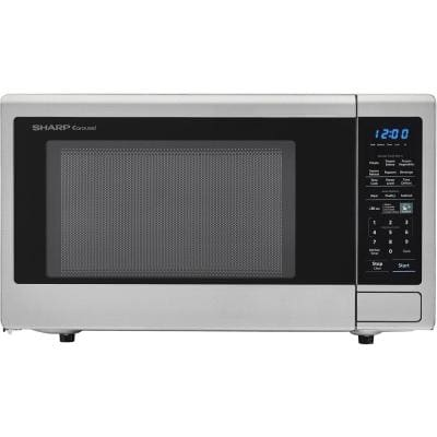 Carousel 1.4 cu. ft. Countertop Microwave in Brushed Stainless Steel with Orville Redenbacher's Popcorn Preset