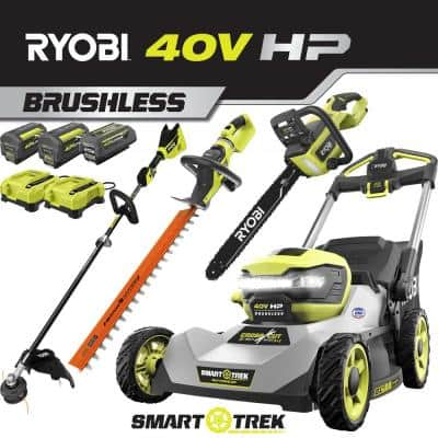 21 in. 40V HP Lithium Battery Brushless Walk Behind Dual-Blade Self-Propelled Mower/Trimmer/Chainsaw/Hedge - 3 Batteries