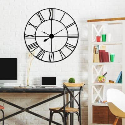 36 in. Black Metal Cut Out Roman Numeral Wall Clock