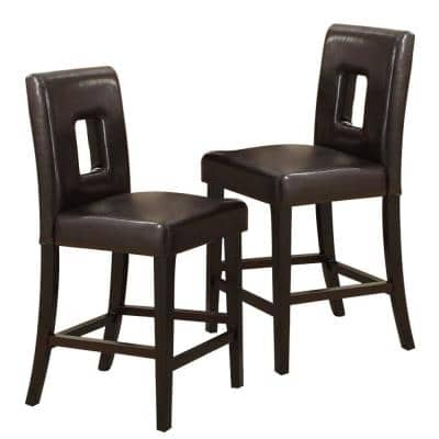 Black Solid Solid Wood and Dark Brown Faux Leather High Chair (Set of 2)