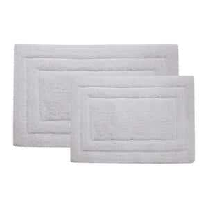 Double Border Ringspun Cotton White 20 in. x 32 in. and 17 in. x 24 in. 2-Piece Bath Accent Rug Set