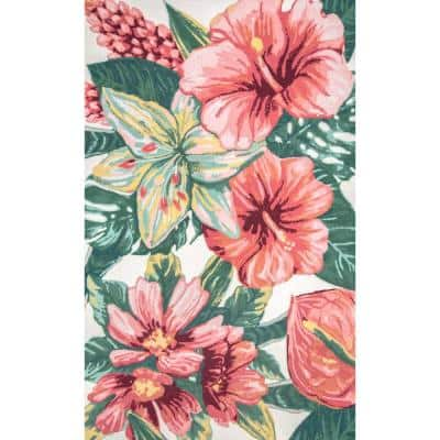 Sabrina Hawaiian Floral Multi 8 ft. x 10 ft. Indoor/Outdoor Area Rug
