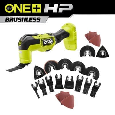 ONE+ HP 18V Brushless Cordless Multi-Tool with 16-Piece Oscillating Multi-Tool Blade Accessory Set