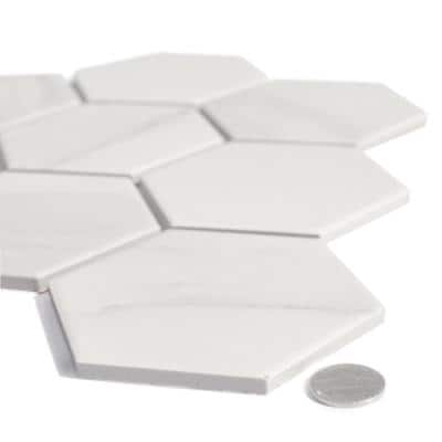 Monet Calacatta White Mosaic 4 in. x 4 in. Porcelain Wall Tile (180 sq. ft./case)