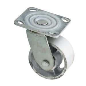 4 in. Zinc-Plated Industrial Swivel Plate Caster with 770 lb. Load Rating