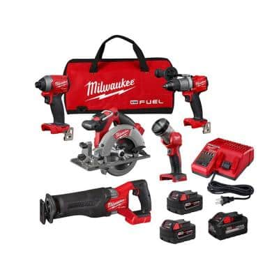M18 FUEL 18-Volt Lithium-Ion Brushless Cordless Combo Kit (5-Tool) with (1) XC 8.0 Ah Battery