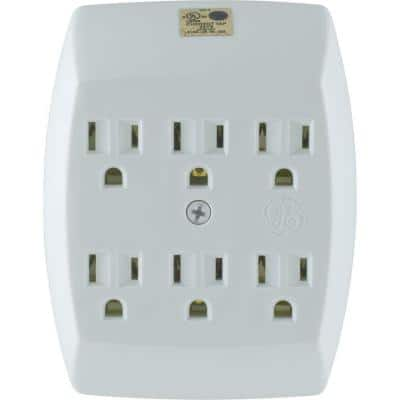 6-Outlet Grounded In-Wall Adapter, White