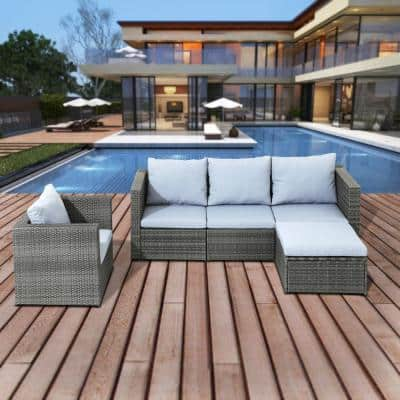 5-Piece Wicker Outdoor Sectional Set with Gray Cushions