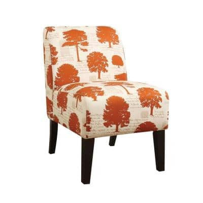 Amelia Tree Fabric Wood Accent Chair
