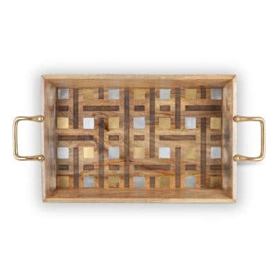 27 in. Brown Tray with Laser Weave Inlay