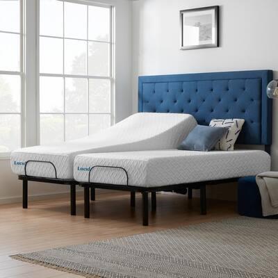 Standard Adjustable Bed and 10 in. Plush Gel Memory Foam Split King Mattress Set