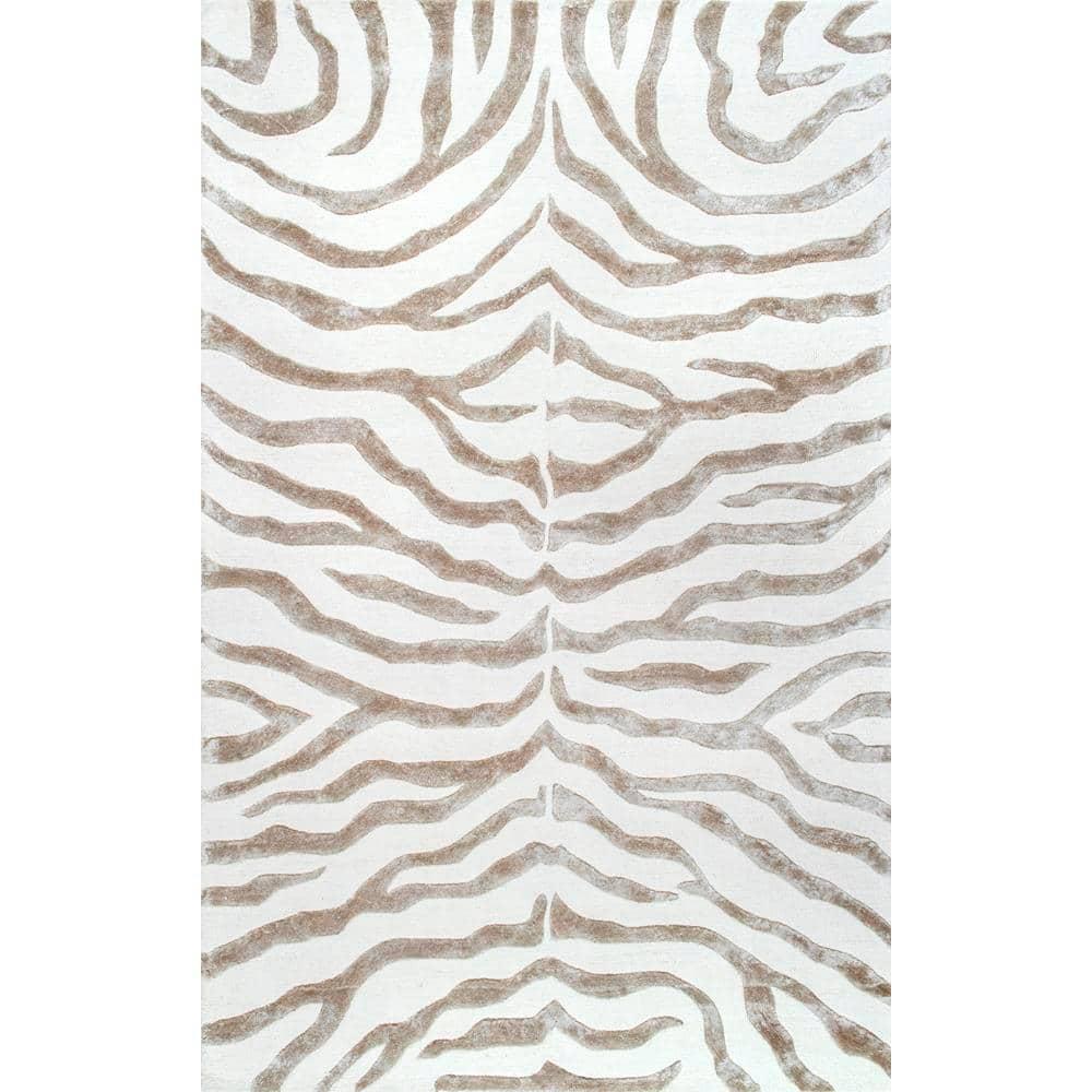 Nuloom Zebra Stripes Gray 8 Ft X 10 Ft Area Rug Zf5 76096 The Home Depot