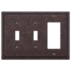 Imperial Bead 3 Gang 2-Toggle and 1-Rocker Metal Wall Plate - Tumbled Aged Bronze
