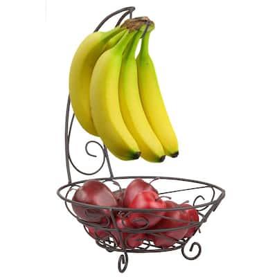 Bronze Fruit Basket with Banana Tree