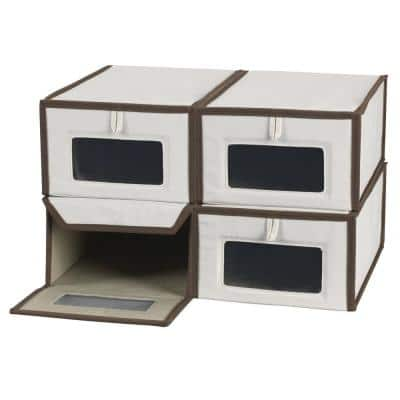 4-Pair Poly-Cotton Canvas Small Shoe Box with Magnetic Front Close