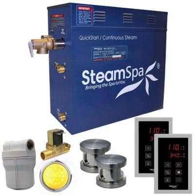 Royal 12kW QuickStart Steam Bath Generator Package with Built-In Auto Drain in Polished Brushed Nickel