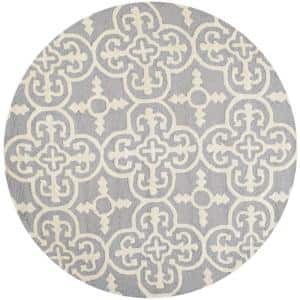 Cambridge Silver/Ivory 4 ft. x 4 ft. Round Geometric Medallion Area Rug