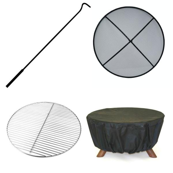 Pacific Coast 29 In X 18 In Round Steel Wood Burning Fire Pit In Rust With Grill Poker Spark Screen And Cover F117 The Home Depot