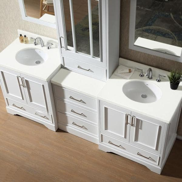 Ariel Stafford 85 In Bath Vanity In White With Quartz Vanity Top In White With White Basins And Mirror M085d Wht The Home Depot