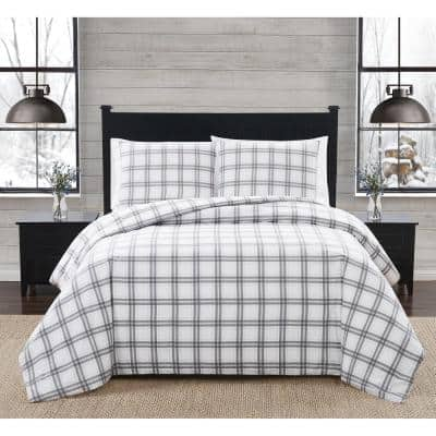 2-Piece White and Grey Plaid Cotton Flannel Twin/Twin XL Duvet Cover Set