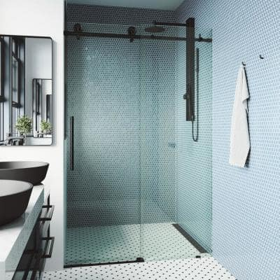 Elan Cass 68 to 72 in. W x 76 in. H Sliding Frameless Shower Door in Matte Black with Clear Glass