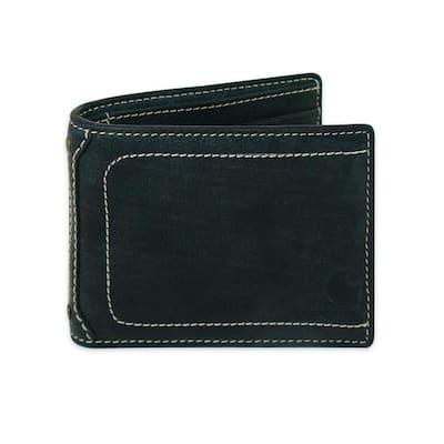Mens Leather Pebble Black Passcase Wallet