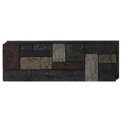 15 in. x 43 in. Castle Rock Ashford Charcoal Faux Stone Siding Panel (4-Pack)