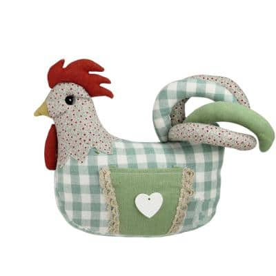 9.5 in. Country Farmhouse Plaid Fabric Rooster Spring Decoration