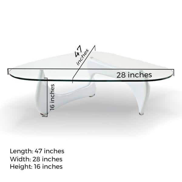 Fab Glass And Mirror Noguchi 47 In White Large Triangle Coffee Table With Top Ctw Fab1270 The Home Depot