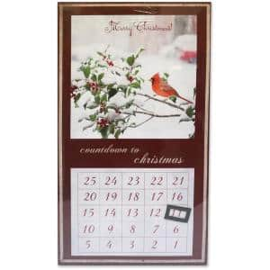 18 in. LED Framed Christmas Calendar - Cardinals