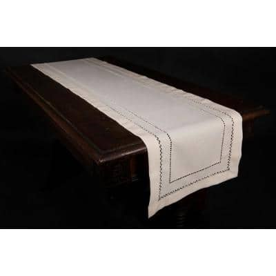 14 in. x 72 in. Handmade Double Hemstitch Easy Care Table Runner in Ivory