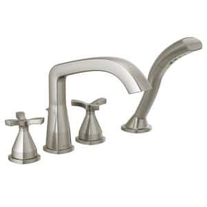 Stryke 2-Handle Deck Mount Roman Tub Faucet Trim Kit with Handshower in Stainless (Valve Not Included)