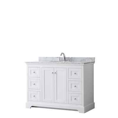 Avery 48 in. W x 22 in. D Bathroom Vanity in White with Marble Vanity Top in White Carrara with White Basin