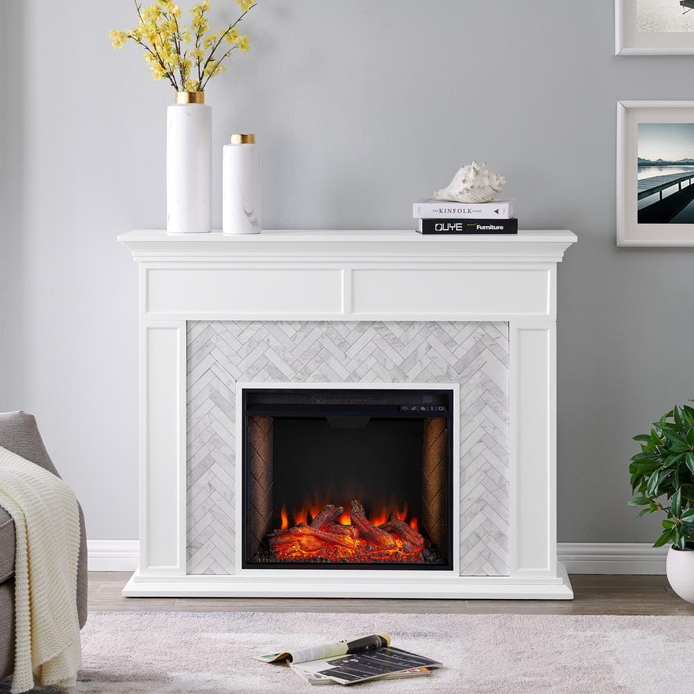 Southern Enterprises Doris Alexa Enabled Tiled Marble 50 In Electric Smart Fireplace Mantel In White And Gray Hd014036 The Home Depot