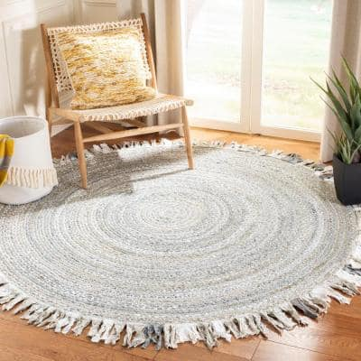 Braided Light Gray 6 ft. x 6 ft. Round Solid Striped Area Rug