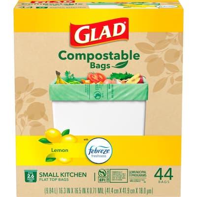 2.6 Gal. Febreze Fresh Lemon Scent Green 100% Compostable Trash Bags (44-Count)