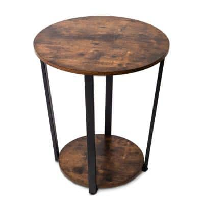 Industrial Rustic Brown Round Side Table with Sturdy Metal Frame