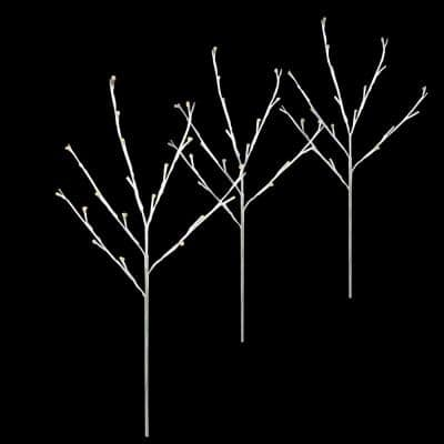 3 Count 29 in. H 60-Light Warm White Twinkling LED Twig Tree Pathmarkers