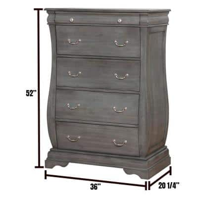 Brunswick 5-Drawers Gray Transitional Style Chest