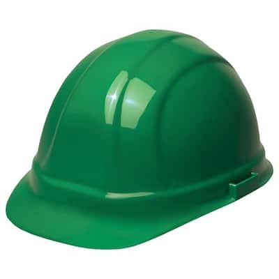 Omega II 6 Point Nylon Suspension Slide-Lock Cap Hard Hat in Green