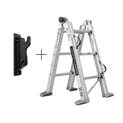 7 ft. H 10 ft. Reach Aluminum Fully Compactable Multi-Position Ladder with Wall Mount 375 lbs. Capacity Type IAA