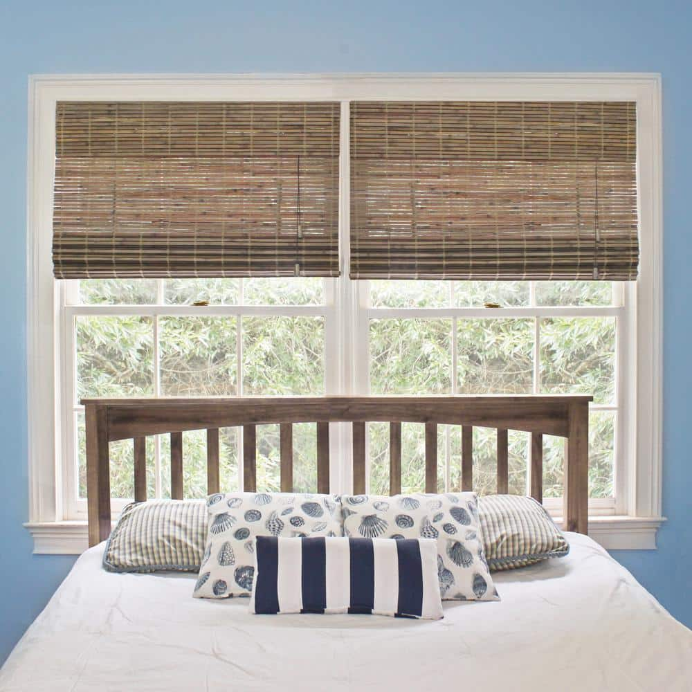 Home Decorators Collection Driftwood Flatweave Bamboo Roman Shade   12 in.  W x 12 in. L Actual Size 12.12 in. W x 12 in. L 02129122   The Home Depot